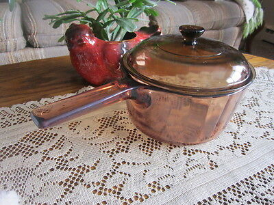 Vision Ware Amber Glass Corning  1.5 L Sauce pan & Lid -U.S.A.