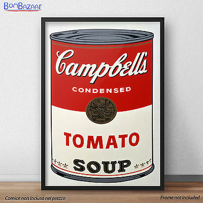 POSTER Campbell's Soup Andy Wharol STAMPA SU carta FOTOGRAFICA o TELA CANVAS