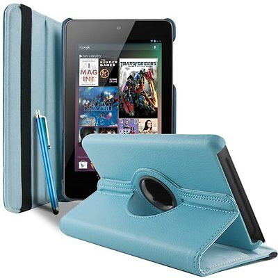 PU Leather 360°Rotating Case Cover Asus Google Nexus 7 1st Gen 2012 Sleep/Wake