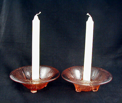 Hazel Atlas Glass Pink ROYAL LACE Rolled Edge Candleholders- Pair