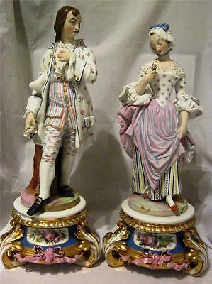 "Parian Ware Painted Lady and Gentleman Figures 17"" with Gilded Porcelain Plinths"