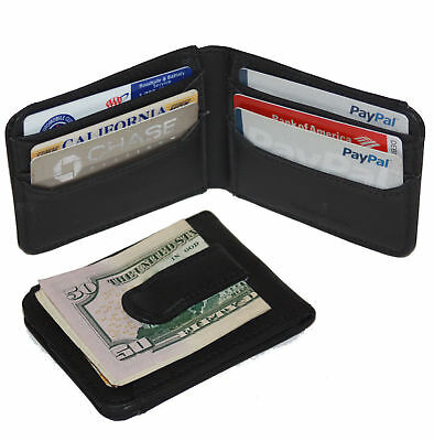 BLACK MEN'S LEATHER MONEY CLIP Bifold Wallet ID Card Holder Slim Front Pocket 11