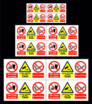 Pack Of 4, 8 & 12 No Food Or Drink, CCTV, No Smoking Taxi Window Sticker 3 Sizes