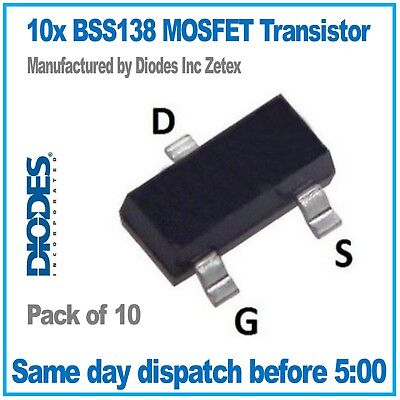 BSS138   Logic level N-Channel FET MOSFET by Diodes Inc. Zetex  -  PACK of 10