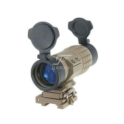JJ Airsoft 4x FXD Magnifier with Adjustable QD Mount (Tan) for eotech,Aimpoint