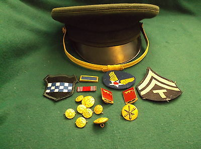 Vintage BANCROFT Military Hat w/ Patches, Bars, Pins and Buttons WW II Army