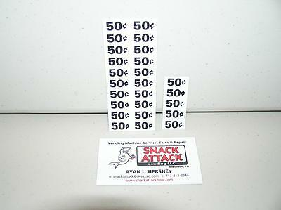 (25) SNACK VENDING MACHINE 50 / 55 CENTS PRICE LABELS / Free Ship!