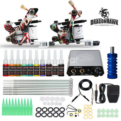 Complete Tattoo Kit Set 20 color Inks Power Supply 2 TOP Machine Guns HW-9WD