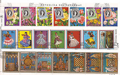 PARAGUAY : traditional costumes,world chess Mexico,stamps Elisabeth II C29