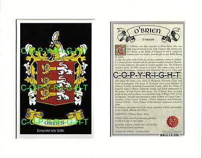 O'BRIEN Heraldic Mount Coat of Arms Family History and Crest