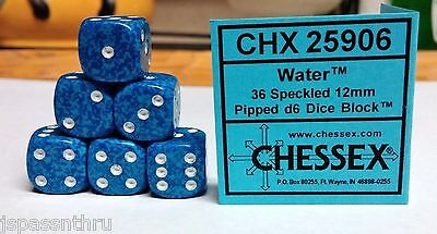 CHESSEX 12mm SPECKLED DICE BACK IN STOCK - WATER w/WHITE PIPS! SMALL SIZE!