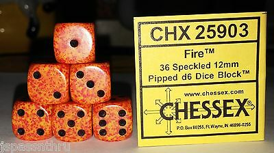 DICE - CHESSEX 12mm SPECKLED DICE BACK IN STOCK - FIRE w/BLACK PIPS! SMALL SIZE!