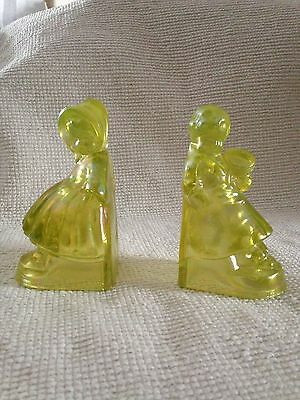 Canary Vaseline Uranium Iridescent Carnival Glass Dutch Boy and Girl Bookends