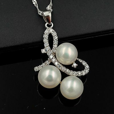 9 mm White Freshwater Pearl CZ 925 Sterling Silver Pendant Chain Necklace 04871