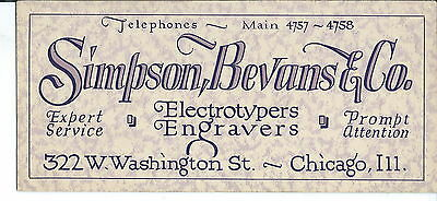 J-074 - Simpson, Bevans & Co, Chicago, 1930's-50's, Advertising Ink Blotter