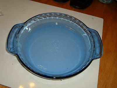 "Anchor Hocking 9"" Cobalt Blue Crimped Edge Handled Pie Plate"