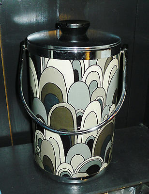 Super Retro Vintage Wine Bottle Ice Bucket w Chrome Lid & Handle