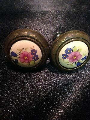 Vintage Shabby Chic Floral Drawer Pulls - Set of 2 - Very Aged Hardware