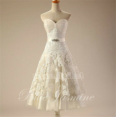 New White/Ivory Real Sweetheart Lace Short Wedding Dress Bridal Gown Custom Size
