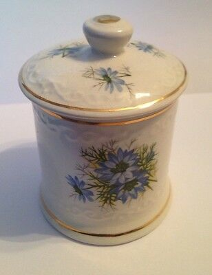 Crown Devon England Small Canister Blue Flowers Designed For Fortnum & Mason