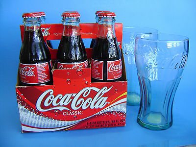 Coca Cola Classic Bottles 6-Pak New. Plus 2 Drinking Glass. Expedited Shipping