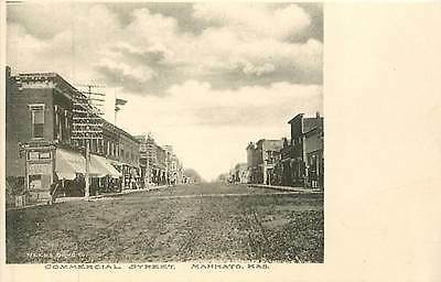 Kansas, KS, Mankato, Commercial Street Albertype Co Postcard Early