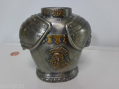 Antique Pewter Metal MEDIEVIL KNIGHT SHINING ARMOR COIN BANK Paperweight Figure