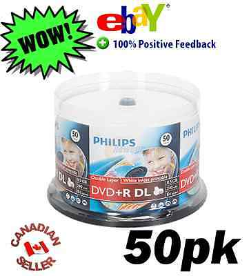 50 Blank Philips DVD+R DL Dual Layer 8X 8.5 GB Discs in spindle Inkjet Printable