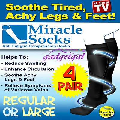 4 Pair MIRACLE SOCKS Compression for Aching Feet, Varicose Veins, Flight, Travel