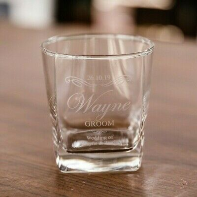 Personalised Engraved Whiskey Glass Wedding Favour Scotch Bourbon Groomsman Gift