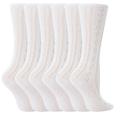 6 Pairs Girls White Fancy Pelerine Knee High Socks (7-10 years)