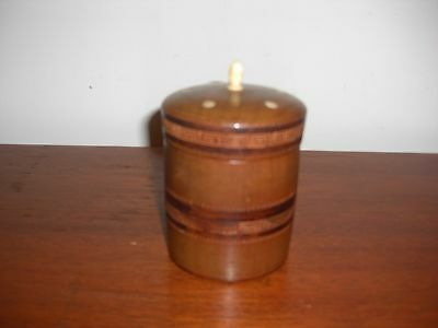 VINTAGE HAND CARVED WOOD CYLINDRICAL TOBACCO BOX WITH INLAID BONE ON LID