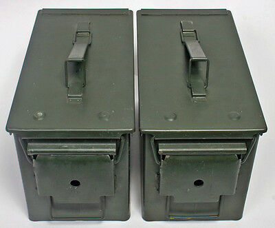 2 (Two)  50cal M2A1 Ammo Cans Boxes in good shape LUBED ORING! Made in USA!