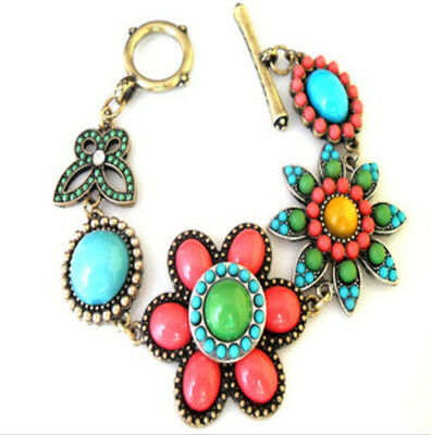 Free shipping New Betsey Johnson Colorful big flower butterfly bracelet B065