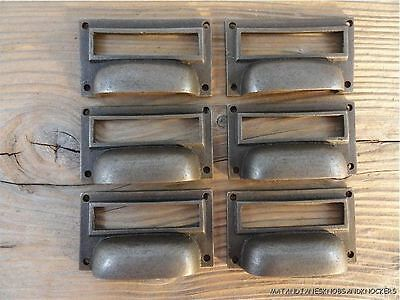 6 Antique Style Industrial Cabinet Drawer Handle Cast Iron Name Card Pull Ch1 • CAD $43.99