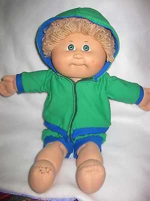 Cabbage Patch boy doll clothes/green hooded knit jacket w/green shorts/blue trim