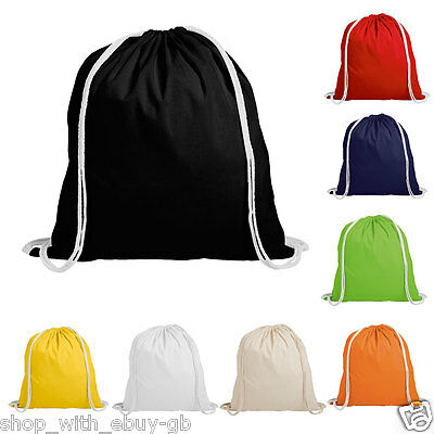50 x COTTON DRAWSTRING RUCKSACK BACKPACK TOTE BAG - SCHOOL GYM PE BOOK BAG - ECO