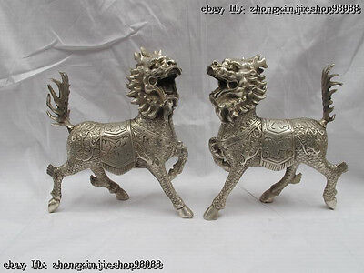 Chinese White Bronze Silver Lucky Evil foo Dog kylin Kilin Feng Shui beast Pair