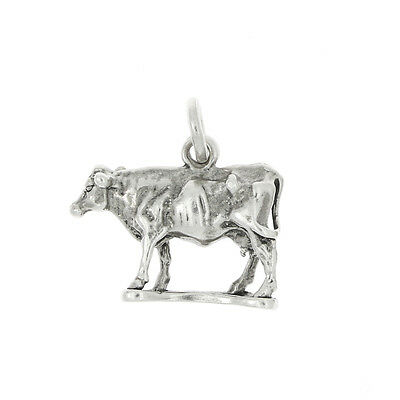 Sterling Silver 3D Female Cow Milking Cow Charm Or Pendant