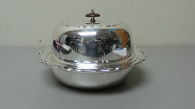 BEAUTIFUL ENGLISH 3 PC. SILVER PLATE DOME TOP BUTTER SERVER / DISH, c. 1906