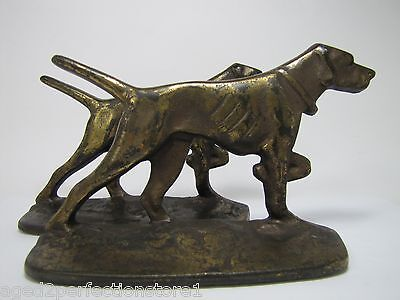Old Cast Iron Pointer Dog Bookends ornate brass wash marked S236 pair book ends