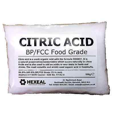CITRIC ACID | 500g BAG | 100% Anhydrous | Fine | GMO Free | BP/FCC Food Grade