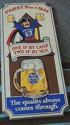 "Vintage Pabst Blue Ribbon Beer Wood Sign. ""One if by Land, Two if by Sea"""