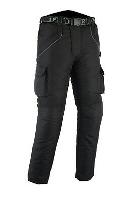 Texpeed New All Black Quality Waterproof CE Armoured Motorcycle Trousers / Pants