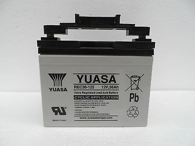 YUASA 12V 36Ah 36 Hole AGM Golf Trolley Battery & T-Bar Connector For Powakaddy
