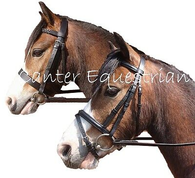 Leather Bridle with Rubber Reins. Flash or Hunter. Shetland, Pony, Cob, Full NEW