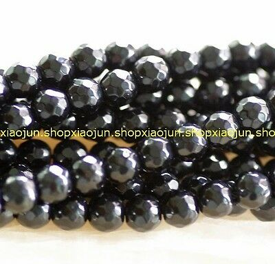 4mm facted black agate round loose beads 15''L