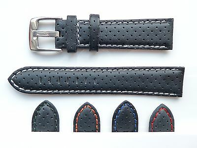 Mens Perforated High Quality Soft padded Leather Watch Band Strap 18,20,22,24mm