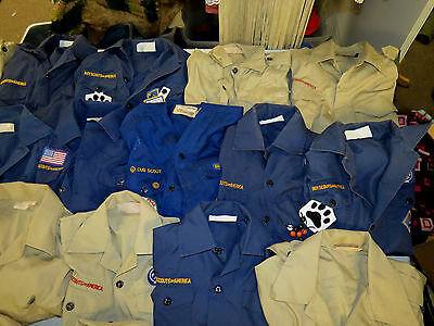 LOT OF 33 BOY SCOUTS UNIFORM SHIRTS WEEBLOS CUB SCOUTS  22 YOUTH & 11 ADULT SIZE