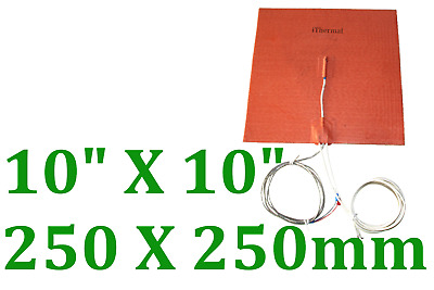 250mm X 250mm 24V 300W with 3M K type thermocouple in middle Silicone Heater 1PC